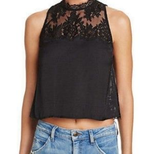 FREE PEOPLE Top Black Lace Boho Open Back Size XS